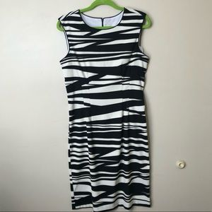 BISOU BISOU Black & White Zebra Striped Dress 10
